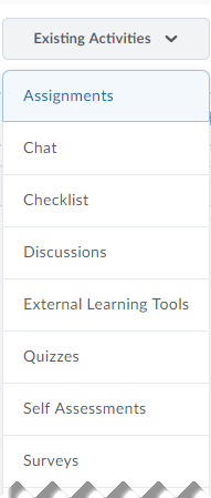 The Existing Activities menu allows users to select an option and follow the prompts to add content.