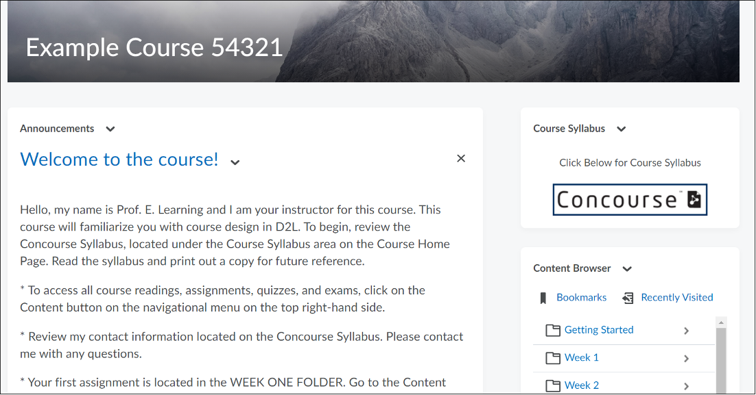 Default widgets on the Course Home Page.