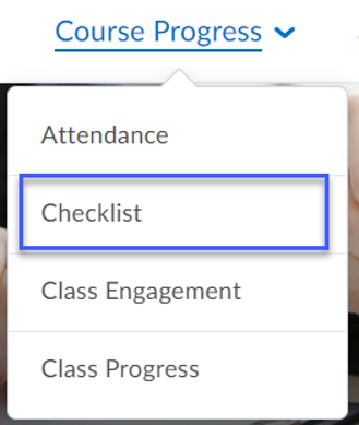 Course Progress drop-down menu with Checklist highlighted.