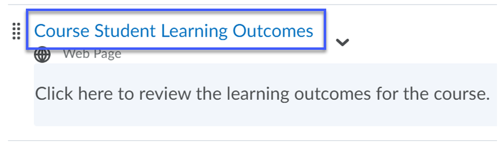 Course student learning outcomes link selected