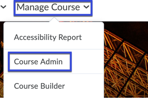 Select the Course Admin option.