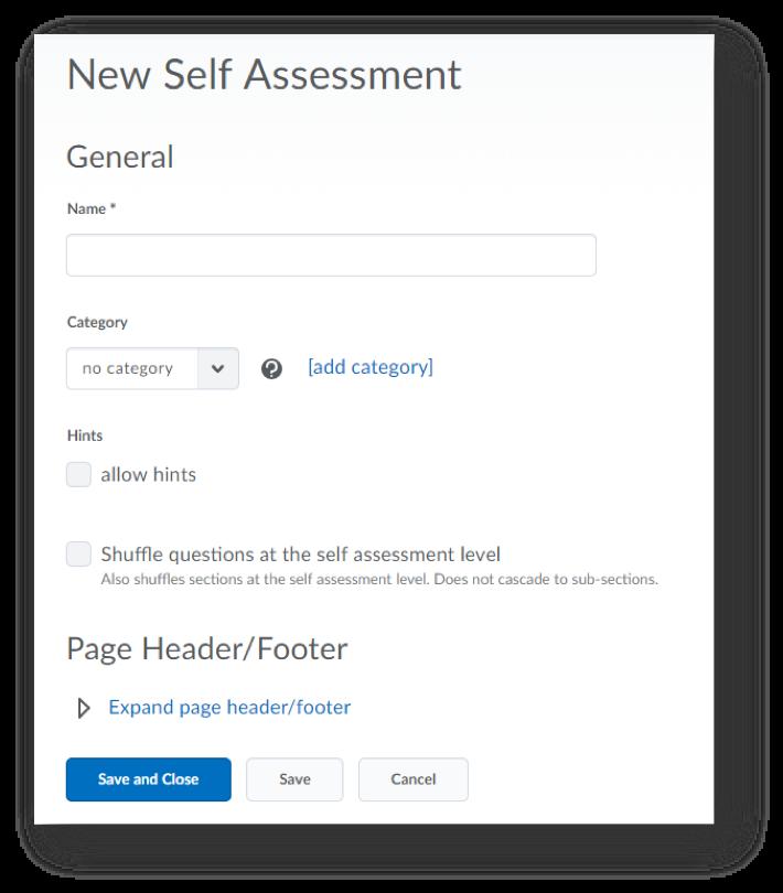 Screenshot of New Self Assessment options.