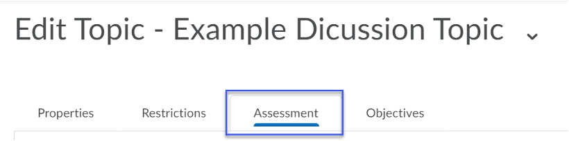 Assessment Tab is selected.