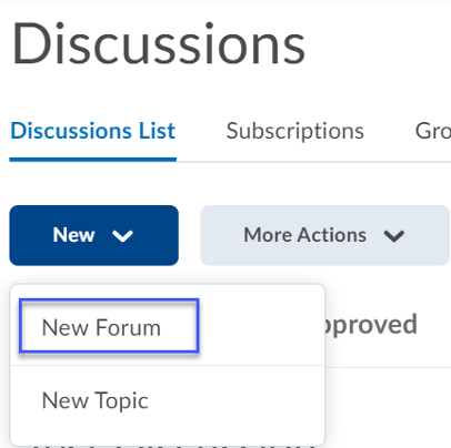 From the New menu, New Forum is selected to create a new forum.