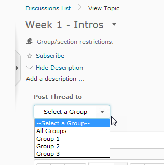 From the Post Thread To menu, select the group(s) to post to.