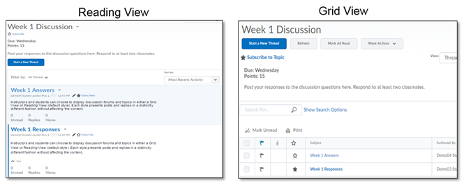 Comparison of Reading View and Grid View.