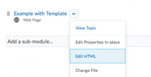 Drop-down expanded with Edit HTML selected.
