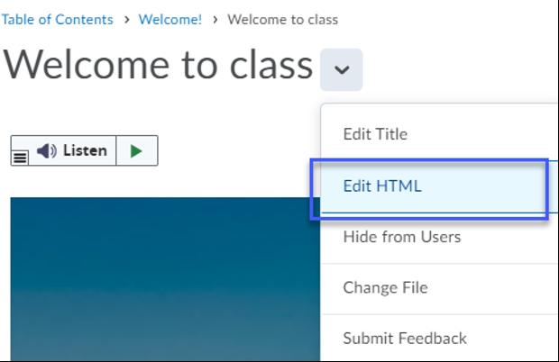 Selecting Edit HTML from the drop-down menu.