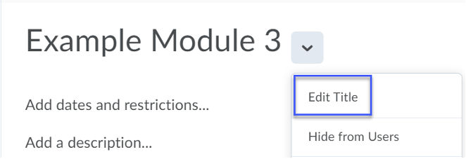 Content topic drop-down menu showing location of the Edit Title option.