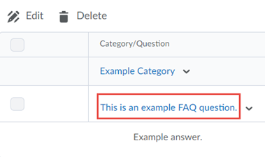 Category  or Question selected in which to edit.