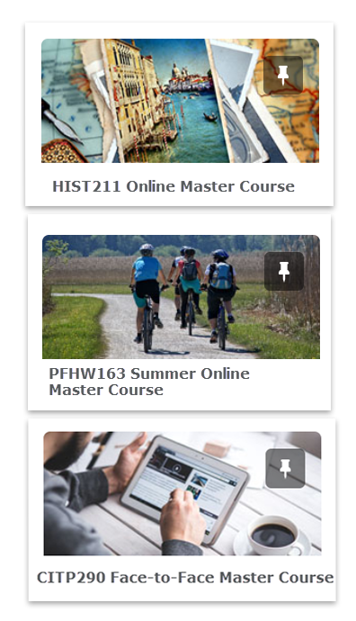 Example of master courses for an HIST211 Online, PFHW163 Summer Online, and CITP290 Face-to-Face Master Courses.