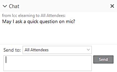 WebEx Trainings Chat Window.