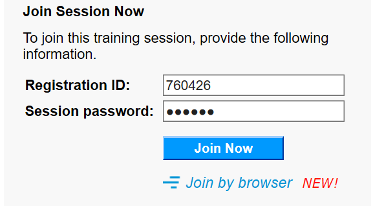 Enter the session with the ID and password.