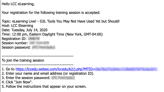 WebEx confirmation email with session information.