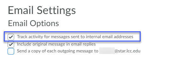 Select desired email settings.