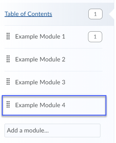 List of example modules in a course.