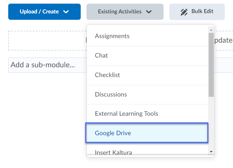 Select Google Drive from the Add Existing Activities menu.