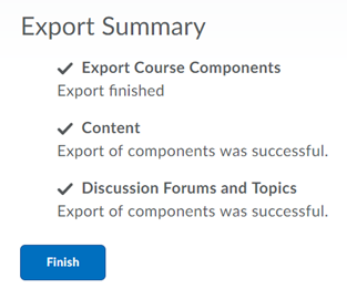 Checkmarks will appear for items that have successfully exported.