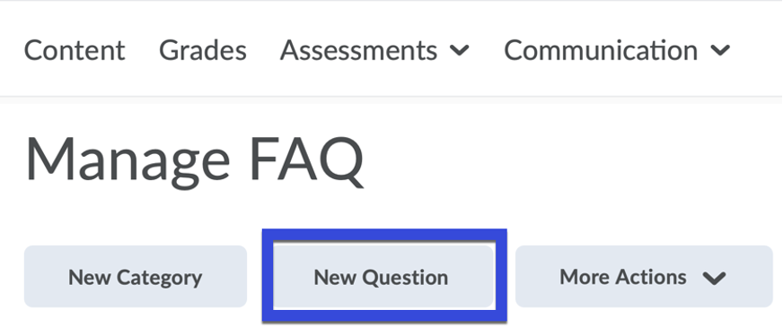 New Question button selected.