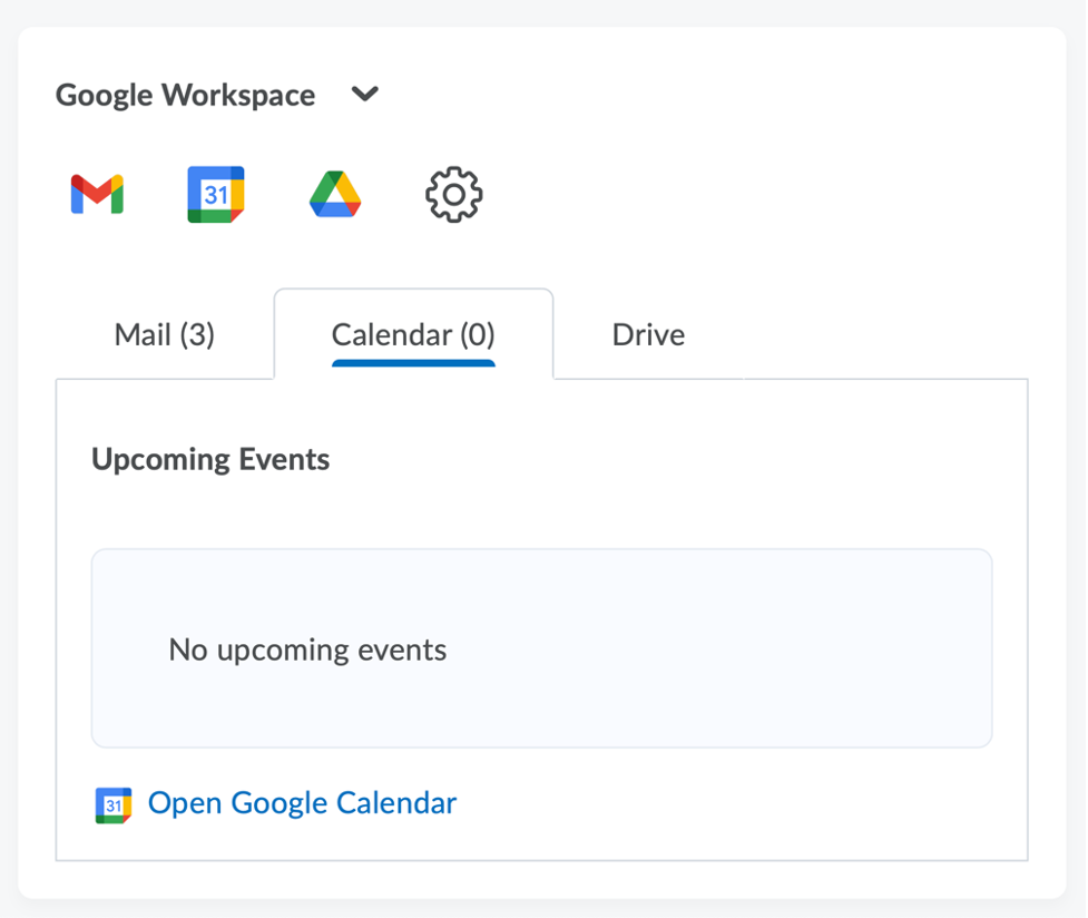 View of the Google Workspace widget, including mail, calendar and Drive.