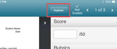 Publish button highlighted.