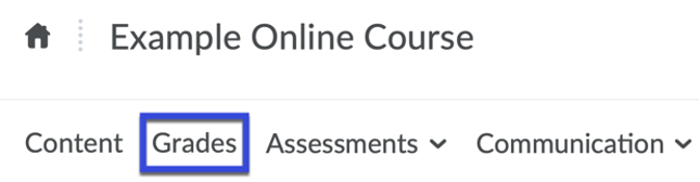 Course Nav Bar with Grades selected.