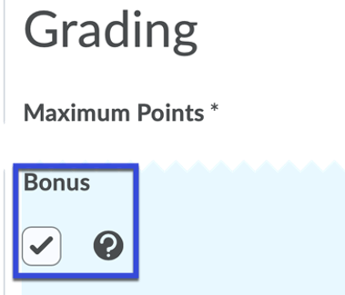 Grading options with Bonus selected.