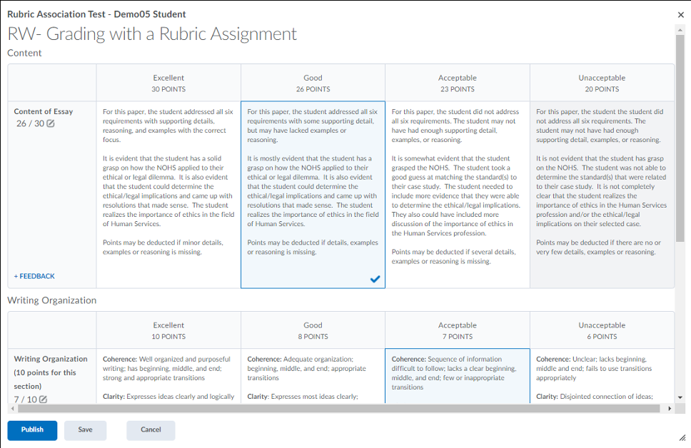 Grading an assignment with a rubric