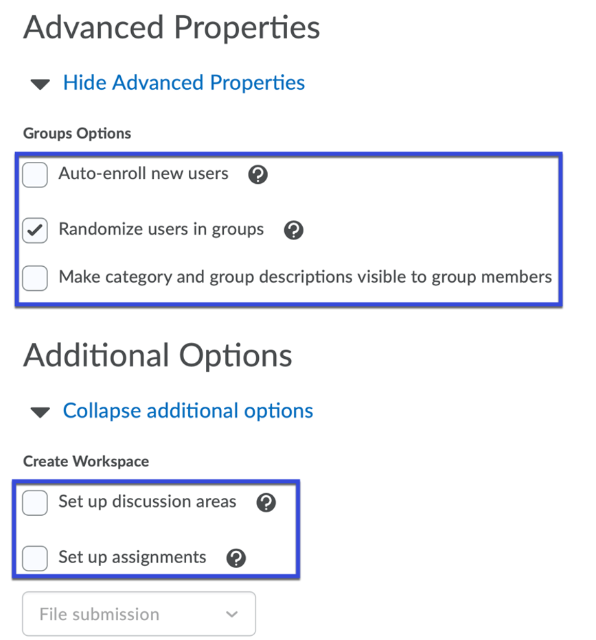 Select any desired advanced properties.