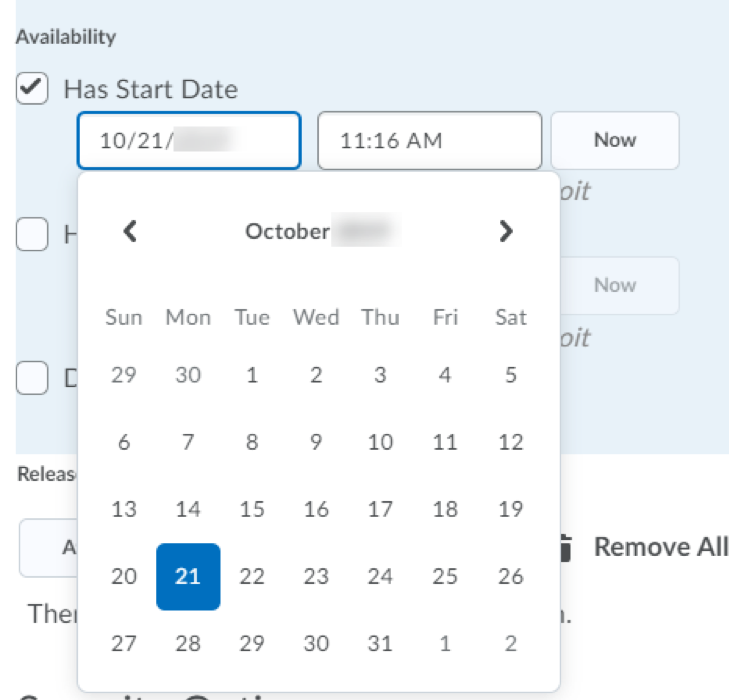 Screenshot of Dates and Restrictions pane.