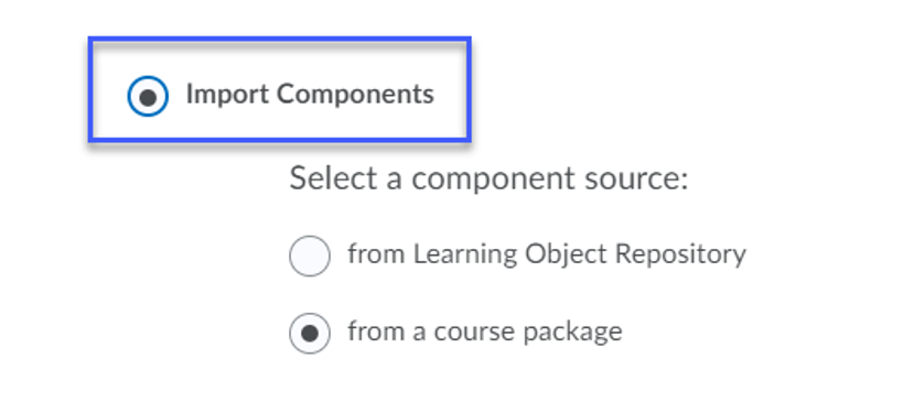 Radio button for Import Components selected.