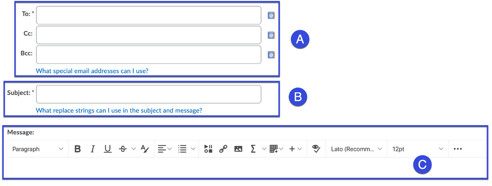 Enter a message including who the message will reach, a subject, and the message.