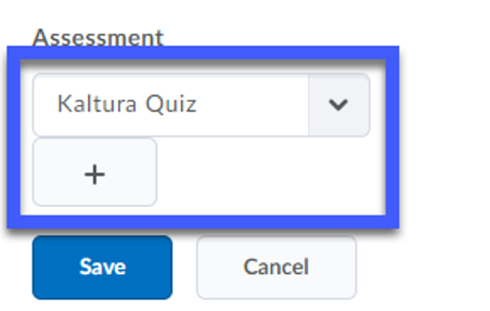 Select from existing quizzes or add a new one.