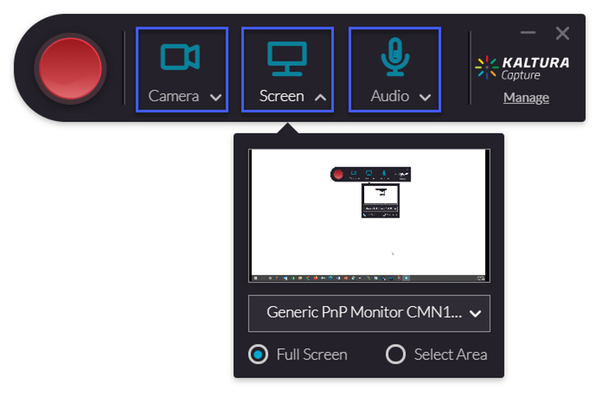 Kaltura Capture player showing options and layout.