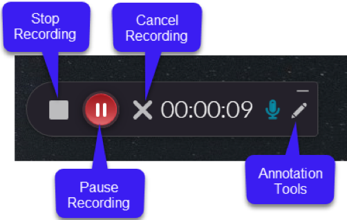 Use the Kaltura Capture recorder to stop, pause or resume, and cancel the recording. Use the Annotation tools to draw and highlight items on the screen.