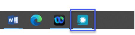 From your computers task bar, select the Kaltura icon to bring the Kaltura Capture recorder to the front.