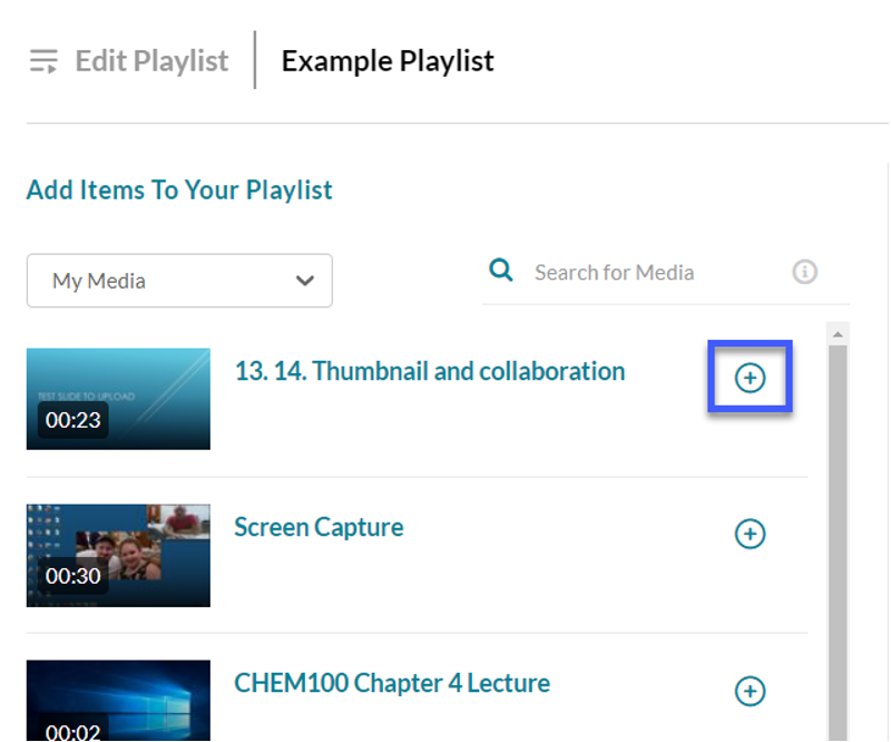 Selecting media for playlists.