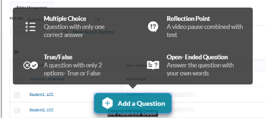 Screenshot of Question Types in the Quiz Question Editor.