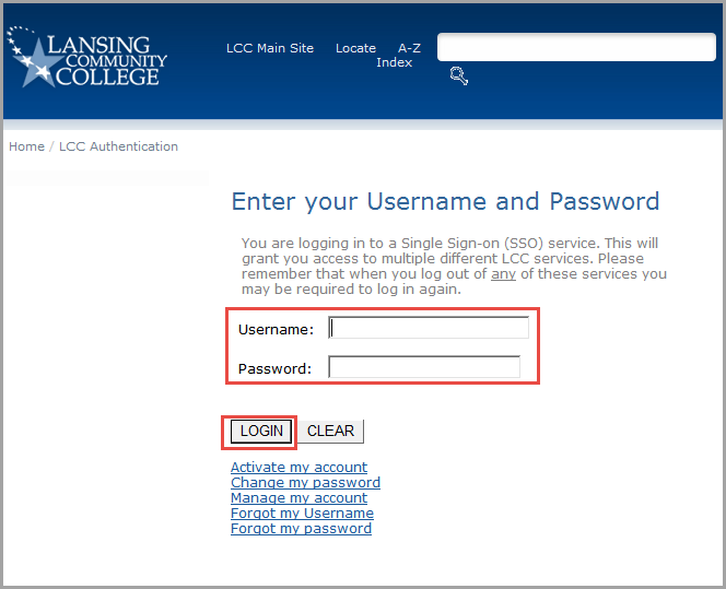 Enter your LCC Username and password, then select Login.