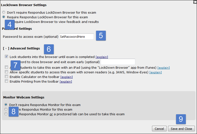 Overview of LockDown Browser settings.