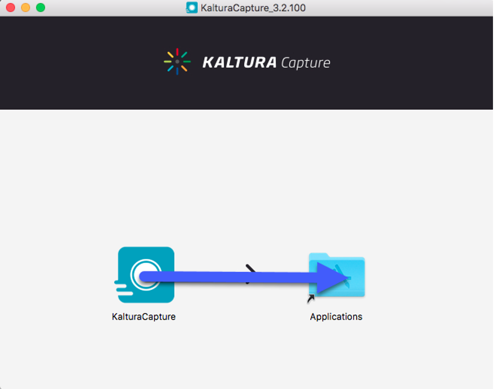 Install Kaltura Capture by dragging the app icon into the Applications Folder.