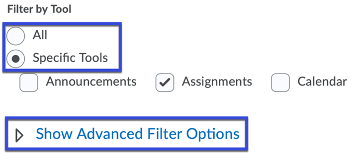Use Filter Options and Show Advanced Filter Options to narrow your search.