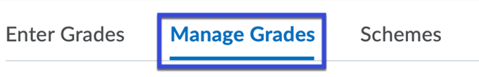 Grades edit options with Manage Grades selected.