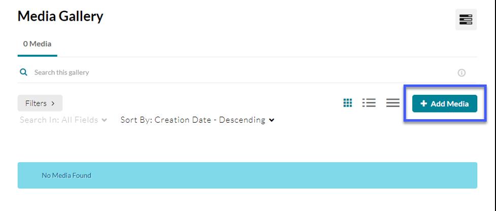 Screenshot of the Kaltura Media Gallery, highlighting the +Add Media button.