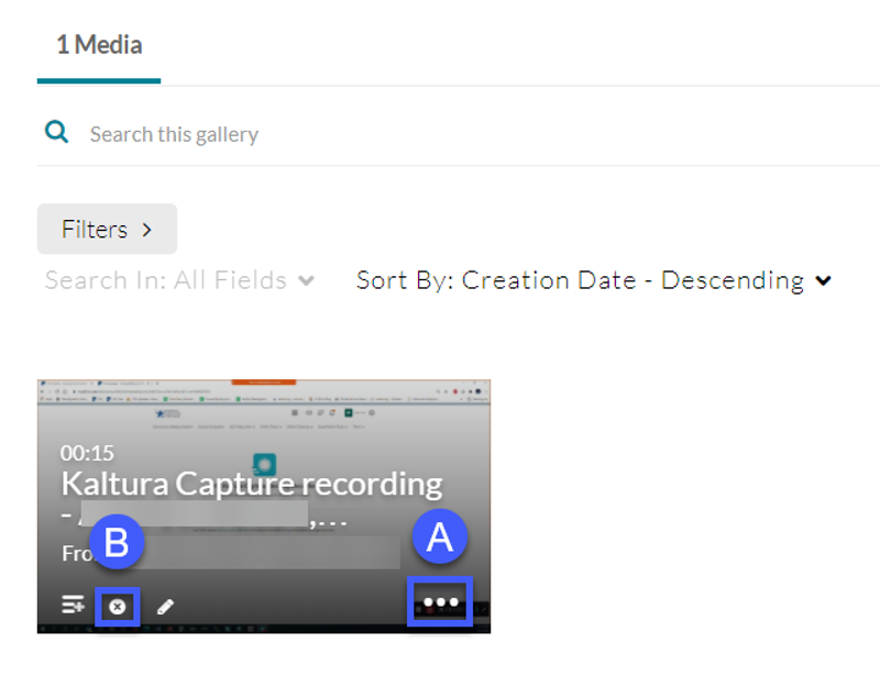 Screenshot of the Kaltura Media Gallery, highlighting the Media Options Menu and Delete button.