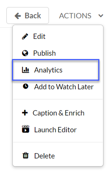 Select Analytics from the Actions menu.
