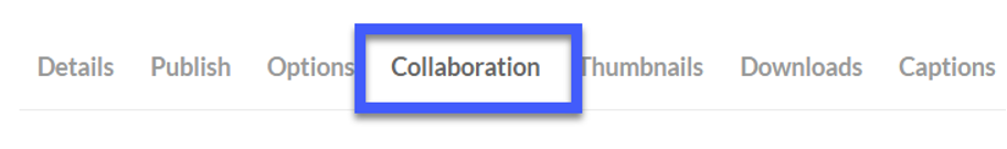 Select the collaboration tab to add collaborators to the video.