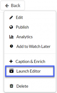 Launch Editor from the Actions menu.