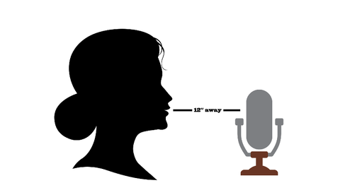 When recording audio, it is best to keep approximately 12 inches from the microphone.