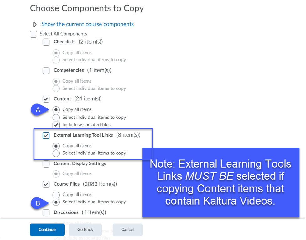 Checkbox or radio button selected for all items to be copied into a course.